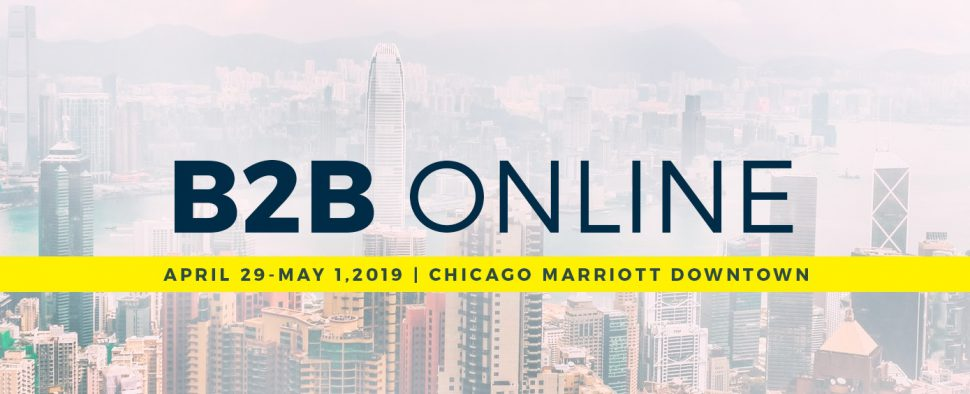 B2B Online banner with Chicago skyline background