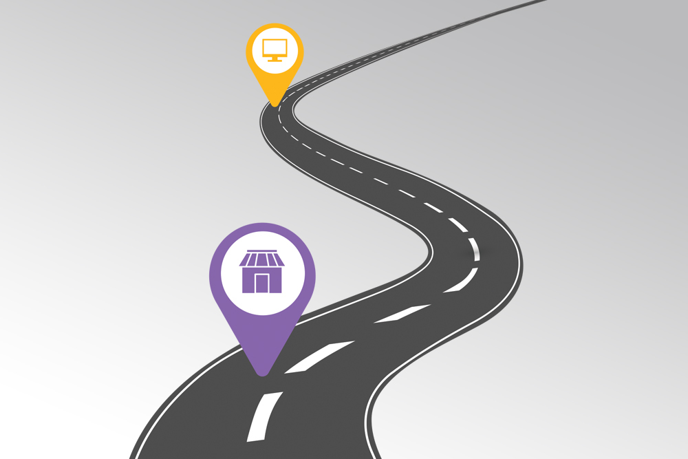 Road with yellow and purple location pin icons